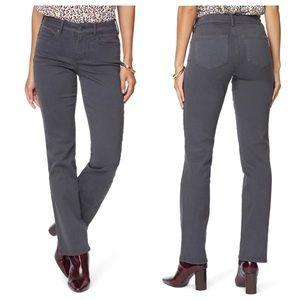 NYDJ Marilyn Straight Leg Stretch Jeans in Gray, Size 10